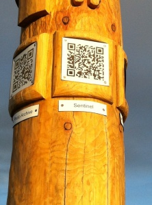 QR codes on totem pole